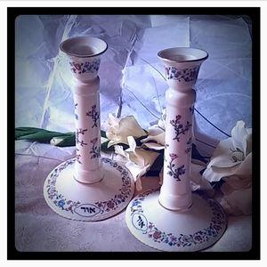 Lenox L'Chaim Floral Sabbath Candlestick Holders